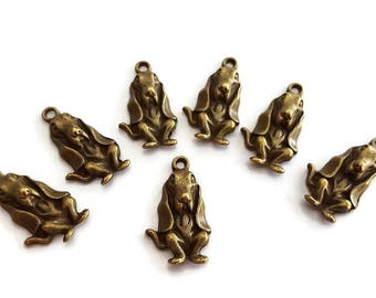 Dog Charms Antique Bronze Tone Lead and Nickle Free (6)