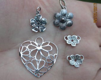 Sterling Silver Flower Links, Heart w/ Flowers,Cherry Blossom Flower, or Flower Pendant(you choose which one)