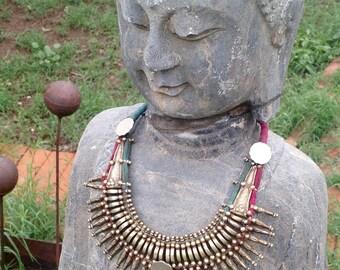 Primitive Rana Tharu Tribal Spike Collar Kanthshri Necklace Nepal No1