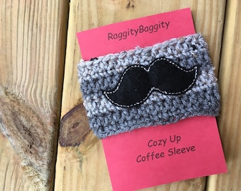 Mustache Coffee Cozy- Coffee Cozy - Black Mustache - Mens Gift - Coffee Cup Cozy, Gift, Fathers day Gift
