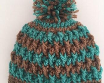 Childs Striped Pom Pom Hat - Size 0 to 3 months - Ready To Ship