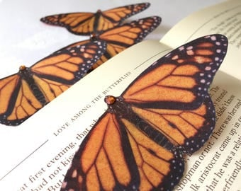 Monarch butterfly hair clip, hand cut from silk with Swarovski Crystals.