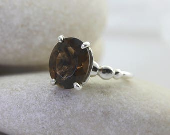 Silver Pebble Ring with Large Smoky Quartz, custom sized bespoke ring