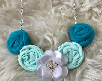 Teal, Aqua, and White Fabric Flower Statement Necklace with Vintage Inspired Brooch, Rolled Rosette, Bridesmaid Gift, Bridal Party, Summer