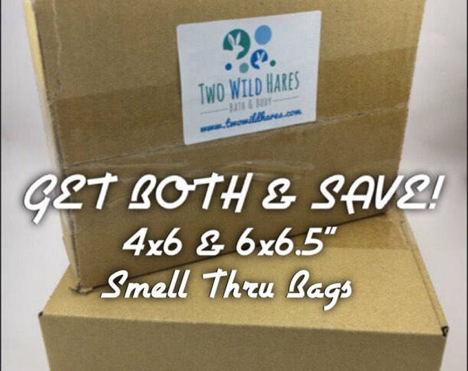 """2 BOXES POLYOLEFIN SHRINK Bags, 2 Sizes, 4x6"""" and 6x6.5"""", 1000 bags, Smell Thru, Soft Plastic, Soap & Bath Bomb Shrink Wrap, 75 gauge"""