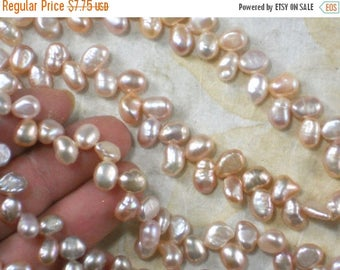 ON SALE Pearls Pale Pink Peach Herringbone drilled Potato 6mm Hong Kong Freshwater (4016)
