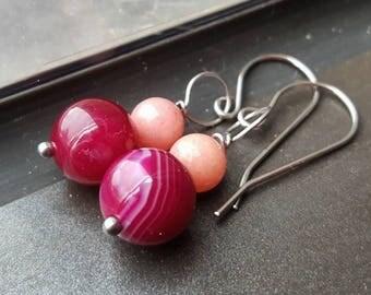 Nina Pink Agate Stainless Steel Earrings