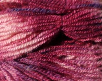 Hand Spun Wool Yarn 102 yards Maroon Blast