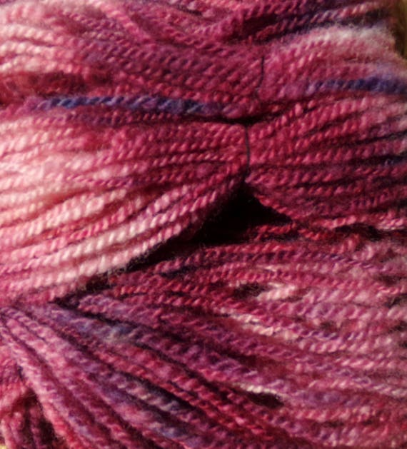 Hand Spun Wool Yarn 102 yards Maroon Blast