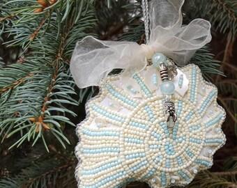 Beach Christmas Ornament - Nautical Coastal Nautilus Shell Beaded Ornament with Charm - Nautilus Seashell Ornament