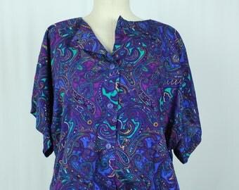 1980s Vintage purple dress - Button Front Shirtdress Plus Size