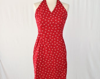 Red Halter Dress / Size 4 Ralph Lauren Vintage 90s Party Dress