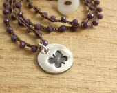 Crocheted Necklace with a Brown Cord, Purple Crystal Beads and a Round Pendant with a Butterfly Design SN-302