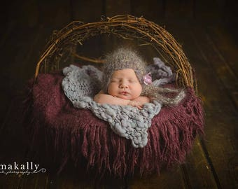 Lavender Grey Mohair Photo Prop Newborn Bonnet Hand Knit Girl Hat Ready Ship Going Home Baby Shower Gift Coming Knitted Infant Photography