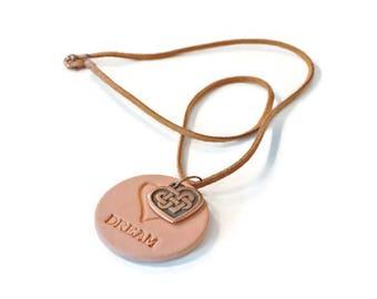 Aromatherapy Essential Oil Diffuser Necklace, DREAM Terracotta Pendant