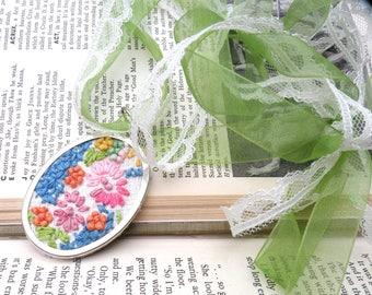 textile necklace assemblage cottage chic embroidered doily vintage floral remnant tie ribbon summer gardener garden floral