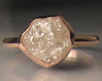 White Raw Diamond Engagement Ring, Raw Diamond Ring, 14k Rose Gold Rough Diamond Ring , 3.33 Carats