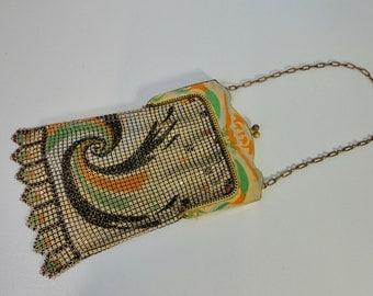 1920s Whiting & Davis Art Deco  Enameled Mesh Bag. Flapper Purse.