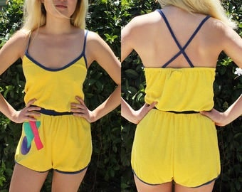 Vintage yellow abstract summertime romper//terrycloth//size small