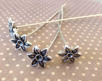 free shipping in UK - 30 pcs antique silver decorative head pin with flower, floral pin