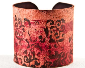 Christmas Gift Sale  Earthy Bracelets Leather Cuffs - Leather Wristbands Handpainted Wrist Cuff Bands