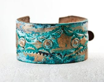Turquoise Bracelet, Leather Bracelet, Leather Wristband, Leather Jewelry, Leather Cuff, Wrist Tattoo Cover