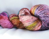 ELOISE - ( Speckled Stellina)hand dyed super wash merino single sock (100 grams) 400 yds free shipping