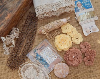 Beige Ecru Craft Supply Bundle  ~  Mixed Medium Craft Supply Bundle