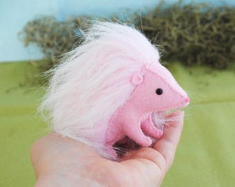 Stuffed Hedgehog Plush Soft Sculpture Art Toy, Pink Hedgehog Gift, Felt Stuffed Animal, Woodland Animals