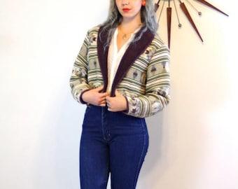 SALE 50% OFF Vintage 80s Bolero Jacket Tribal Print Sage Green Brown Cropped Geometric Ethnic Navajo Blanket Southwestern Womens 1980s Short
