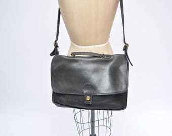 vintage COACH leather purse briefcase satchel messenger shoulder bag authentic black distressed