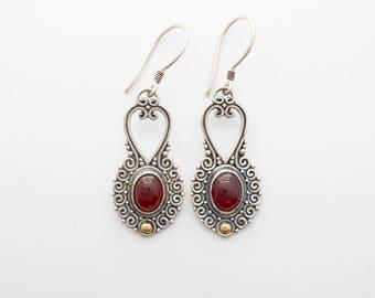 Sterling Silver Garnet cabochon gemstone gold dangle Earrings / 1.75 inch long / silver 925 /  Balinese handmade jewelry