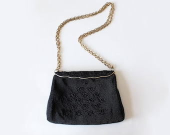 Vintage Dayton's Black Beaded Clutch with Chain Strap