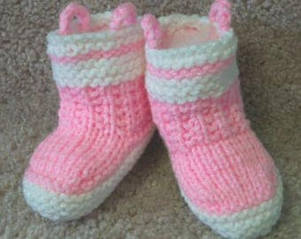 Custom handmade Knit Fireman Firefighter Fire Rescue Baby girls pink Booties Boots Crib shoes