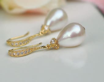 Teardrop Pearl Earrings | Ivory White Rose Freshwater drop Pearls | CZ Pavé Gold Vermeil Dangles | Birthday | Bridal Jewelry | Ready to Ship