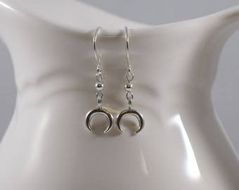 Handmade Sterling Silver Crescent Earrings, Sterling Silver Earrings, Silver Earrings, Half Moon Earrings, Crescent Earrings, Small, E059