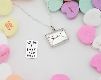 Envelope Letter Necklace, Cute Personalized Letter Necklace, Valentine's Day Gift, Love Letter Necklace, Locket Necklace, Gifts for Her