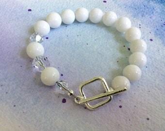 FREE  SHIPPING Sterling Silver White Stone White Swarovski Crystal Bracelet and Earring Set