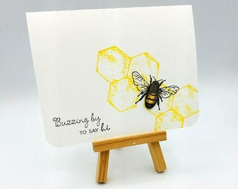 Hello Card, Bee Card, Card for Friend, Thinking of You, Bee, Honeybee, Honeycomb, Just a Note, paper goods, note card, hello bee, Buzzing by