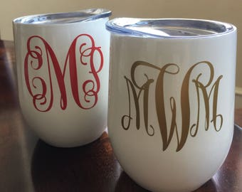 Stemless Wineglass, Swig, monogrammed