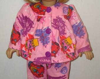 "ON SALE Fits American Girl Doll, 18"" Doll Clothes, Pajamas,Shopkins,READY To Ship,doll clothes, Sleepwear, Flannel,lipstick,ag doll,am girl,"
