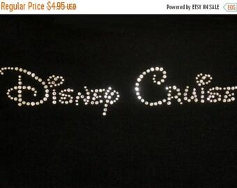 SALE 7.5 inch Disney Cruise text iron on rhinestone transfer in crystal clear rhinestones