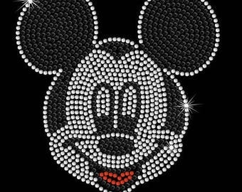 """SALE 6.7"""" tall Mickey Mouse face Disney iron on rhinestone transfer applique patch"""