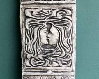 The Kiss Ceramic Pottery Relief Sculpture Tile