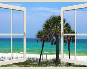 Wall mural window, self adhesive, window view-4 sizes available-Destin beach - free US shipping