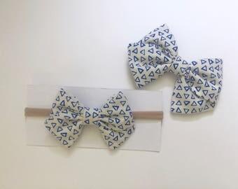 Blue Triangle Bow - clip or nylon