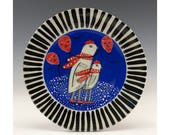 Plate - Painting by Jenny Mendes on a round ceramic tapas plate - Red Scarf Day
