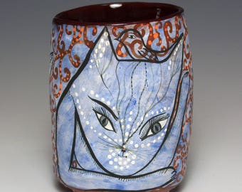 Cats - Yunomi - Ceramic Cup by Jenny Mendes