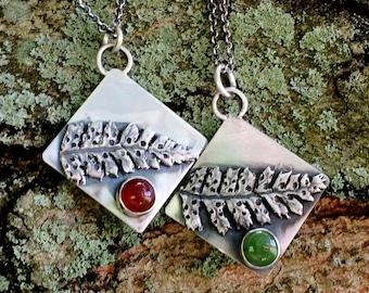 Silver Fern Necklace, Sterling Silver, Gemstone Necklace, Nature Lovers Earthy Jewelry, Boho gypsy Jewelry