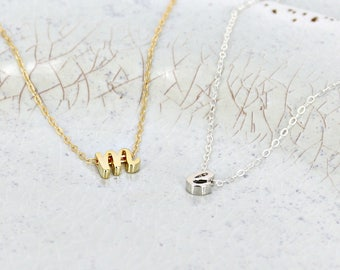 Initial charm necklace • Dainty initial necklace • Cursive initial necklace • Gold or Silver initial necklace • Letter necklace for kids